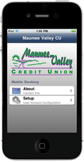 Phone with Maumee Valley CU App