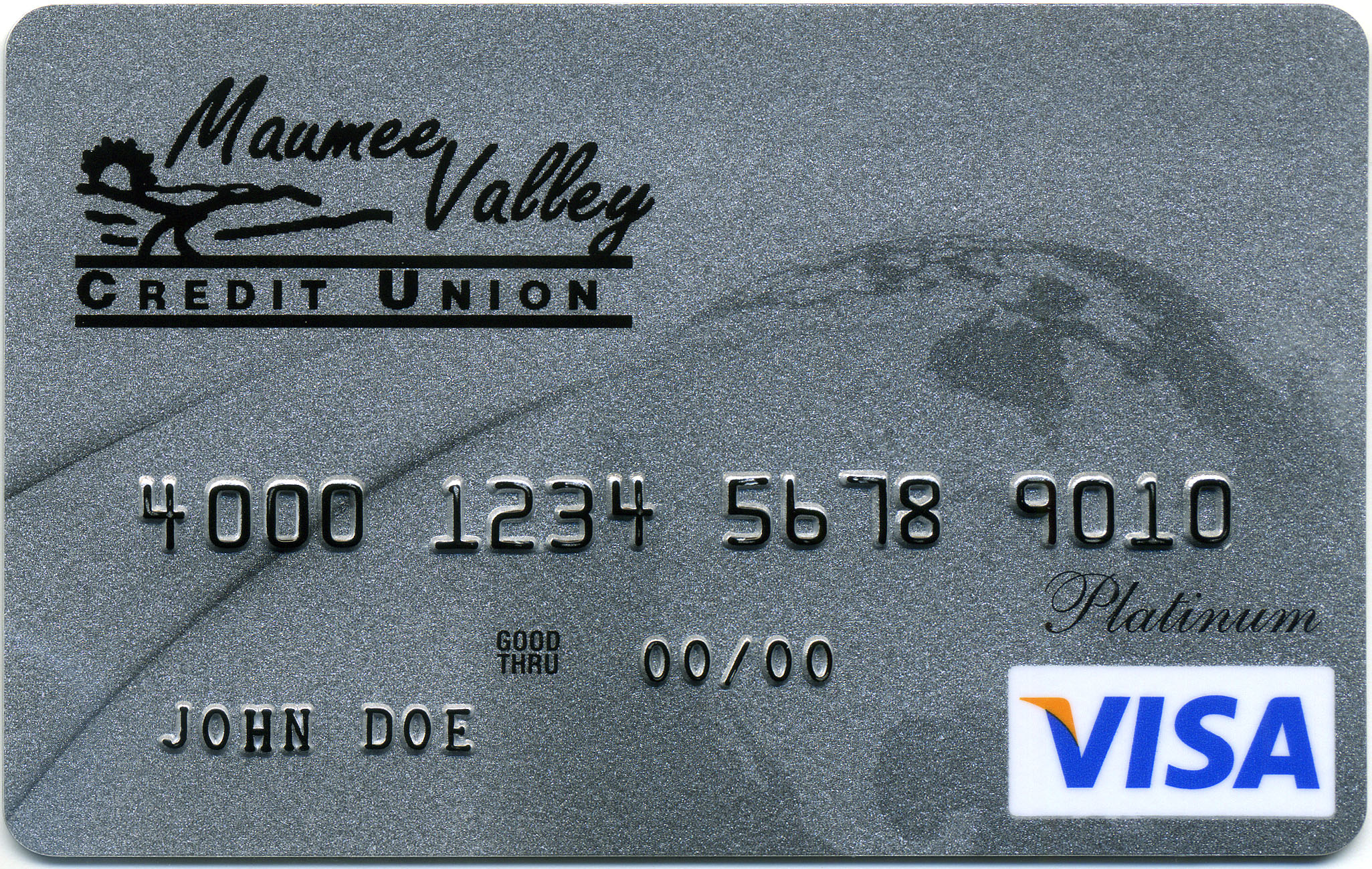Visa card with Maumee Valley Credit Union logo